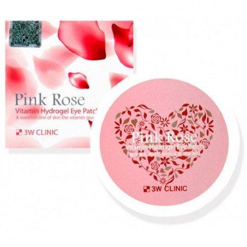 Витаминные гидрогелевые патчи для глаз с розой 3W Clinic Pink Rose Vitamin Hydrogel Eye Patch
