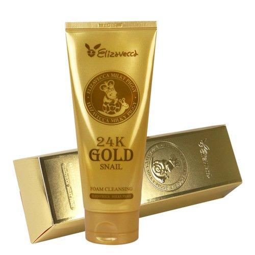 Пена для умывания с экстрактом улитки и золотом Elizavecca 24K Gold Snail Cleansing Foam
