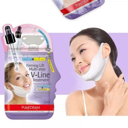 Лифтинговая маска для контура лица Purederm Firming Lift Multi-step V-Line Treatment