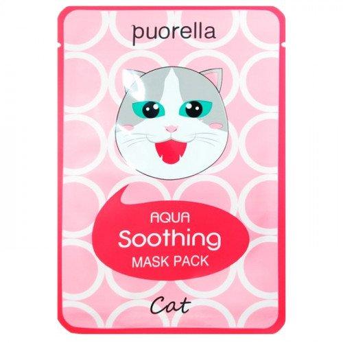 Зволожуюча і заспокійлива тканинна маска Puorella Aqua Soothing Mask Pack Cat