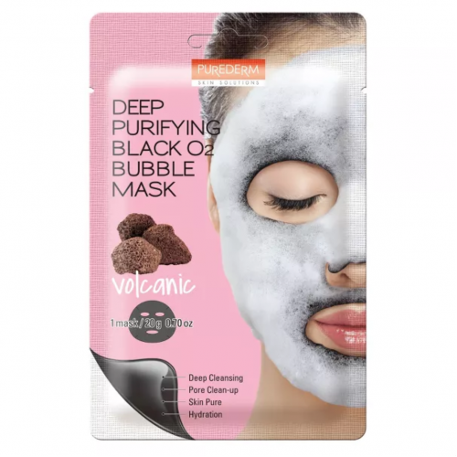 Киснева маска Purederm Deep Purifying Black O2 Bubble Mask Volcanic