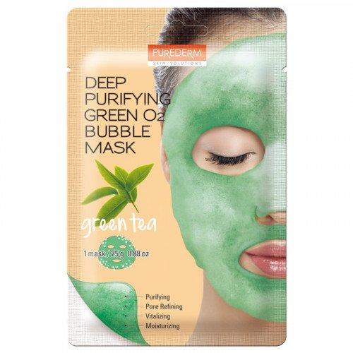Киснева маска Purederm Deep Purifying Green O2 Bubble Mask Green Tea