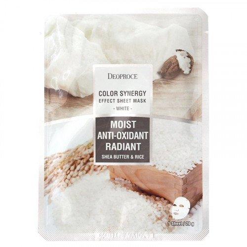 Питательная листовая маска с маслом ши Deoproce White Moist Anti-Oxidant Radiant Shea Butter & Rice Mask