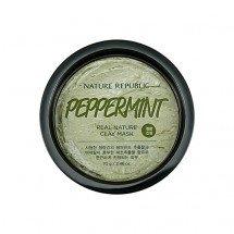 Очищающая и осветляющая маска-скраб с имбирём и лимоном Nature Republic Real Nature Clay Mask Peppermint & Seaweed