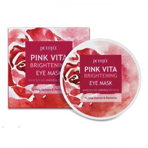 Осветляющие патчи с розовой водой Petitfee Pink Vita Brightening Eye Mask