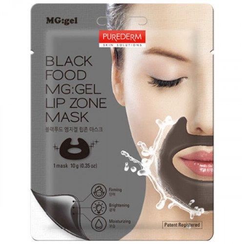 Гідрогелева поживна маска для зони навколо губ і носогубних складок Purederm Black Food MG: Lip Zone Mask