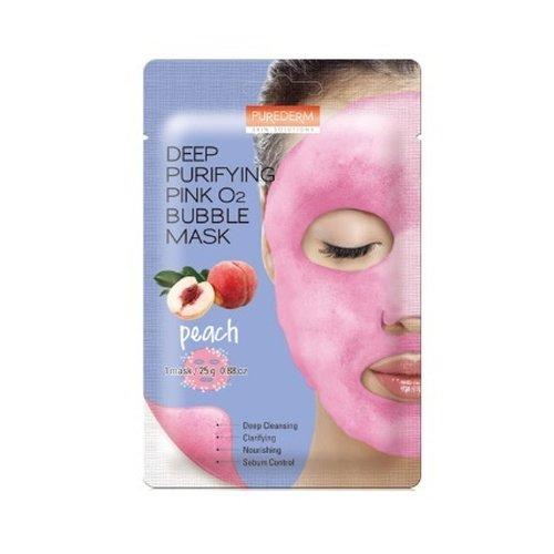 Кислородная тканевая маска с экстрактом персика Purederm Deep Purifying Pink O2 bubble mask Peach