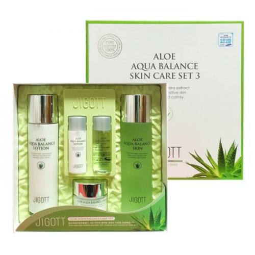 Набор увлажняющей косметики с алое Jigott Aloe Aqua Balance Skin Care Set