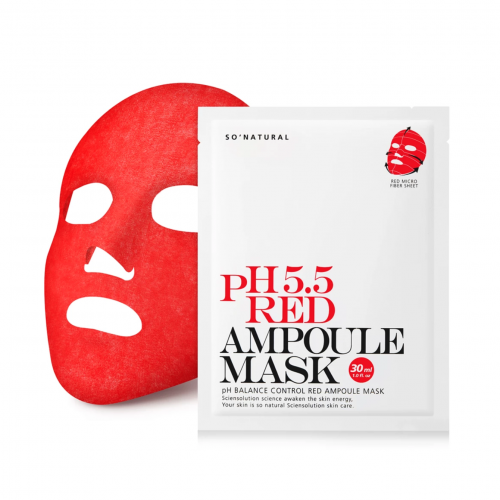 Успокаивающая пост-пилинг маска So Natural PH 5.5 Red Ampoule Mask