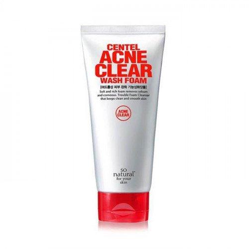 Лечебная противовоспалительная пена для умывания So Natural Centel Acne Clear Wash Foam