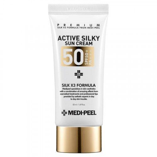 Сонцезахисний крем з пептидами і амінокислотами шовку MEDI-PEEL Active Silky Sunscreen SPF50 +/PA +++