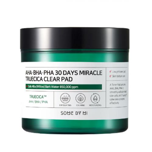Кислотные пилинг-спонжи для проблемной кожи Some By Mi AHA BHA PHA 30 Days Miracle Truecica Clear Pad